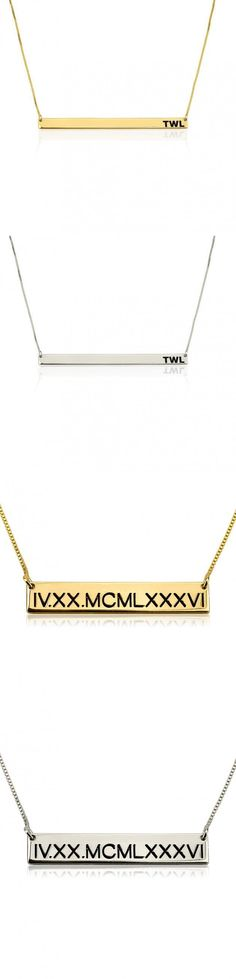 Engraved Gold and Silver Bar Necklaces