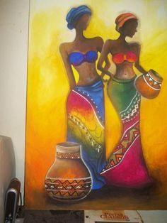 Afbeeldingsresultaat voor cuadros y laminalar africanas Black Art, Black Women Art, African Art Paintings, Merian, Art Africain, Africa Art, African American Art, Woman Painting, Female Art