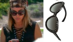 Kelly Dodd's Studded Cat Eye Sunglasses Season 11 Episode 10 of the Real Housewives of Orange County Fashion http://www.bigblondehair.com/real-housewives/kelly-dodds-studded-cat-eye-sunglassses/