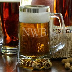 c7d3f9e886d Personalized 25 oz Silver Rimmed Glass Beer Mug