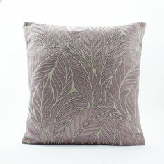 Decorative throw pillow cover, Silk Pillow-3D Embroidered Mauve Purple Fern pattern/Vintage Fabric made 18x18 pillow custom size/Euro Sham