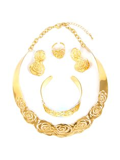 Luxury costume golden necklace jewelry sets - Teemtry.com shopping - The best deals on necklace sets