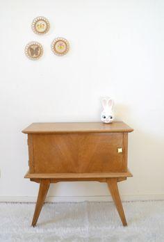 chevet table d 39 appoint meuble t l phone table de nuit vintage ann es 50 style scandinave. Black Bedroom Furniture Sets. Home Design Ideas