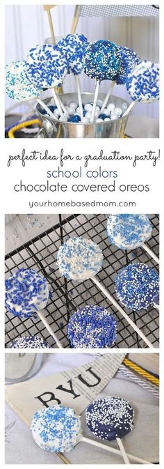 Colors Chocolate Covered Oreos School Color Chocolate Covered Oreos are perfect for your graduation party!School Color Chocolate Covered Oreos are perfect for your graduation party! Graduation Party Desserts, Graduation Party Foods, Graduation Party Planning, College Graduation Parties, Graduation Celebration, Graduation Decorations, Grad Parties, Graduation Ideas, Graduation 2016