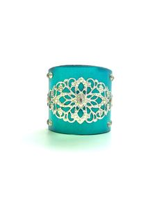 teal cuff with silver overlay