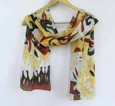 Garnet and gold colors silk scarf. Holiday colors hand painted silk scarf.Abstract pattern scarf.Made to order.
