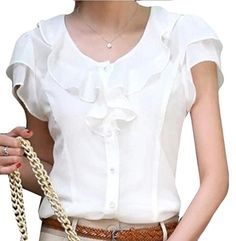 Generic Women Fashion Slim Solid Color Shortsleeved Chiffon Shirt White M *** Details can be found by clicking on the image.Note:It is affiliate link to Amazon. #l4l