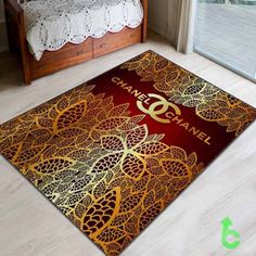 #Chanel #golden #leaf #lace #on #red #Blanket #quilt #throws #bedroom #bedding #woman #decorative #giftidea #present #birthday #custom #design