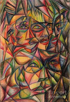 I like the psychadelic style of this picture. Cubist Paintings, Cubism Art, European Paintings, Contemporary Paintings, Geometric Art, Art Inspo, Collage Art, Painting Prints, Modern Art