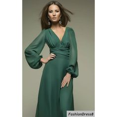 Green Maxi Dress.Formal Chiffon Dress.Occasion Dress Summer via Polyvore featuring dresses, formal occasion dresses, chiffon maxi dress, chiffon dress, green formal dresses и formal wear dresses