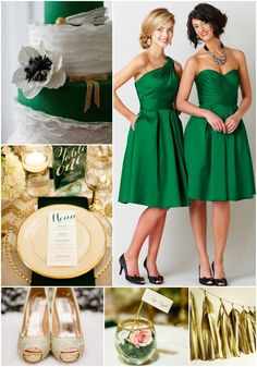 Emerald + Gold Wedding Palette Inspiration | Kennedy Blue Silky Taffeta in the color Emerald