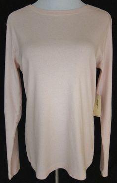 Eddie Bauer New Women Sz. L Pale Pink Cotton Long Sleeve Pullover Round Neck Top #EddieBauer #Pullover