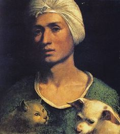 Portrait Of A Young Man With A Dog And A Cat, by Dosso Dossi, 1541-2,