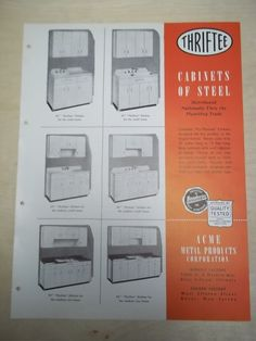 Vtg Acme Metal Products Brochure~Thriftee Steel Cabinets~Catalog~1946 | eBay