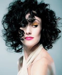 chin length perm hairstyle - love the dark color too