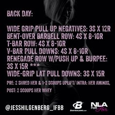 Here is a great Back Workout for you! @NLA for Her Sports Supplements for Women #nlaforher @Bodybuilding.com #teambbcom