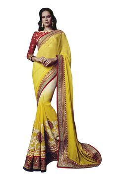 Buy Now Yellow Bemberg Georgette Thread Work Wedding Saree with Heavy Work Blouse only at Lalgulal.com  Price :- 8,842/- inr. To Order :- http://bit.ly/1Xc3X0n COD & Free Shipping Available only in India #sarees #weddingsaree #saris #weddingwear #bridalwear #halfandhalf #allthingsbridal #bridalsuits #ethnicfashion #celebrity #shopping #fashion #bollywood #india #indiafashion #bollywooddesigns #onlineshopping #designersaree #partywear #collection #designechoice #wedding #designer