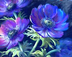 'Nothing Quite Like it!' Anemones pastel painting by Nel Whatmore Floral Art