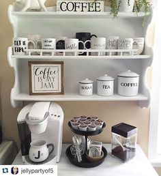 95 diy coffee station ideas for your mood buzz 70 Decor, Coffee Bar Home, Kitchen Decor, Living Room Decor, Home Decor, Bars For Home, Apartment Decor, Home Coffee Stations, Kitchen Organization
