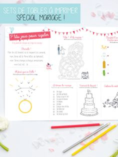 Pour décorer la table des enfants lors d'un mariage, rien de mieux que nos sets de table à imprimer spécial mariage ! Ils décorent, mais surtout ils permettent d'occuper les enfants calmement le temps que le plat arrive, avec des jeux ou des coloriages. Efficace !