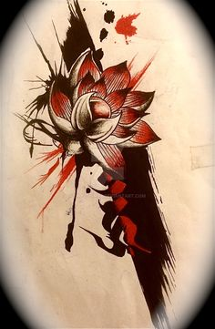 tradh polka style lotus flower designed... This was made as a coverup for an old tattoo
