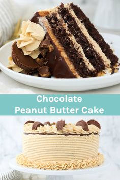 Decadent, sweet and a little salty, this Chocolate Peanut Butter Cake is three layers of moist chocolate cake with creamy peanut butter frosting, chocolate ganache and peanut butter cups. #chocolatecake #peanutbutterfrosting #chocolatepeanutbuttercake Decadent Chocolate, Chocolate Ganache, Chocolate Peanut Butter, Desserts With Biscuits, Cookie Desserts, Peanut Butter Frosting, Creamy Peanut Butter, Frosting Recipes, Cake Recipes
