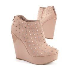 Pale    Pink Studded Boot Wedges    £39.99    Think    pink and give your style a boost in these stand out wedges with an all over    silver stud embellishment, perfect for the good girl gone bad. #DoItInDenim
