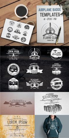 Airplane Badge Designs #photoshop #psd #design #air • Available here → https://graphicriver.net/item/airplane-badge-designs/14917622?ref=pxcr