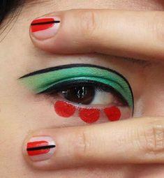 colour blocking eye make up and matching nail art