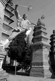 ♂ Chinese Martial Arts Kungfu Shaolin Monk Black & white photo