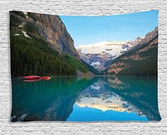 Ambesonne Lake House Decor Collection, Lake Louise with A Red Canoe, Banff National Park, Canada Wilderness Nature Picture, Bedroom Living Room Dorm Wall Hanging Tapestry, 60 X 40 Inches, Green Blue *** Details can be found by clicking on the image.
