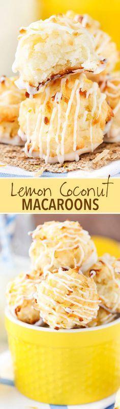 Lemon Coconut Macaroons - light lemon flavor lots of coconut soft and chewy! Lemon Coconut Macaroons - light lemon flavor lots of coconut soft and chewy! Lemon Coconut, Coconut Recipes, Lemon Recipes, Sweet Recipes, Lemon Desserts, Delicious Desserts, Yummy Food, Coconut Desserts, Gluten Free Coconut Macaroons