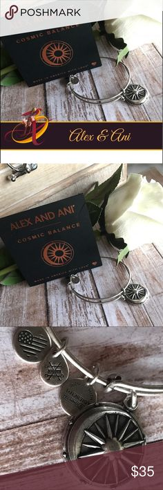 """Alex and Ani """"Cosmic Balance"""" Charm Bangle Alex and Ani's Cosmic Balance Charm bangle represents the balance in opposing natural forces. In this beautiful charm, you'll see both the sun and moon. The moon reflects the light of the sun, illuminating the night while life rests and restores itself. Finished in Rafaelian silver and expandable from 2"""" to 3.5"""".  Charm dimensions are 0.85"""" x 0.85"""". Price is firm unless bundle. Alex & Ani Jewelry Bracelets"""