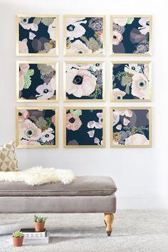 Ginette Fine Art Delphiniums Jardin Bleu Wood Wall Mural