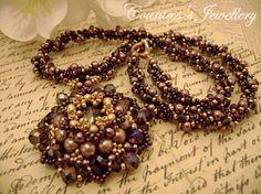 Purple and gold beaded necklace with pendant, smoky quartz glass rivoli, amethyst Rondelle crystals, beadwork, handmade, unique jewellery