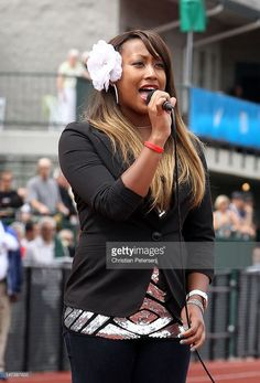 Mary Joyner, daughter of Florence Griffith Joyner, sings the National Anthem before the start of day seven of the U.S. Olympic Track & Field Team Trials at the Hayward Field on June 28, 2012 in Eugene, Oregon.