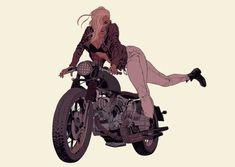 Motor Bike Drawing Character Design References Ideas For 2019 Character Concept, Character Art, Concept Art, Motorcycle Art, Bike Art, Bike Drawing, Biker Girl, Character Design References, Character Design Inspiration