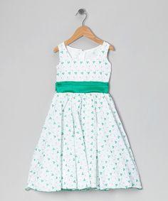Loving this White & Green Vine Dress - Infant, Toddler & Girls on #zulily! #zulilyfinds