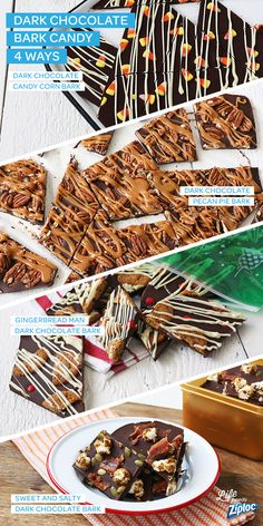4 Dark Chocolate Bark Candy Twists from Ziploc®! From a candy corn infusion and a pecan pie twist to a bacon bonanza and gingerbread red hot surprise, this homemade candy is all created from one delicious dark chocolate base. Collect all four!