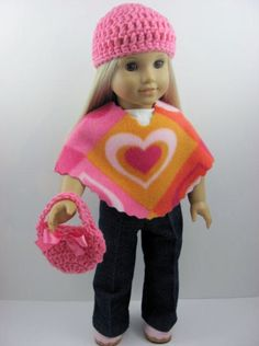 3 Piece Fleece Poncho Set for The American Girl Doll