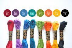 My officially chosen signature colors. Dmc Embroidery Floss, Cross Stitch Embroidery, Embroidery Patterns, Hand Embroidery, Cross Stitch Designs, Cross Stitch Patterns, Cross Stitch Floss, Cross Stitch Supplies, Yarn Thread