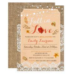 #Fall in Love Burlap Bridal Shower Invitation - couples shower invitations #showerinvitation #shower #weddinginvitations #wedding #invitations #party #card #cards #invitation #couple