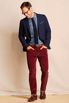 chambray shirt with cherry wood red pants, a wool knit tie!