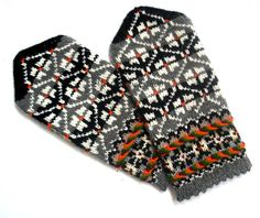 Hand knitted wool mittens Warm wool mittens Winter gloves Black gray white Patterned mittens Rustic ethnic style unisex Latvian mittens