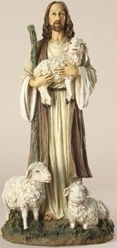 """Jesus The Good Shepherd With Lambs Figure. A delightful gift or for yourself, this figure shows the tender gentleness of both Jesus the Good Shepherd and lambs. Made of Resin/Stone Mix Measures 12""""H 6"""