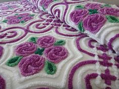 Vintage Chenille Bedspread Variegated Purple Cabbage Roses and Deco Designs MINT