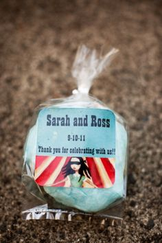 Cotton candy wedding favors, from a Circus Themed wedding. Fun! Popcorn could be good too!