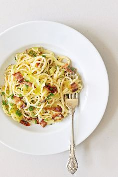 Pasta Carbonara With Leeks and Sun-Dried Tomatoes: The creamy, eggy carbonara sauce receives a slight revamp with the addition of leeks and sun-dried tomatoes.