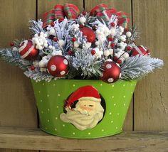 Santa Claus Christmas Wreath Alternative, Christmas Decoration, Holiday Wreath. $54.95, via Etsy.