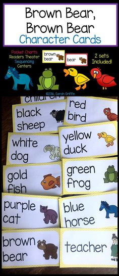 Brown Bear Brown Bear vocabulary and character cards Focus Boards, Illustrated Words, Bear Character, Kindergarten Themes, Readers Theater, Number Words, Thing 1, Story Elements, Vocabulary Cards